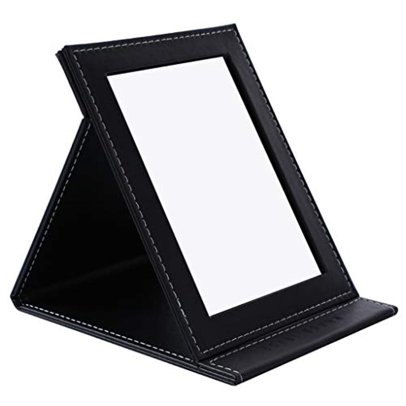 終点時刻表デッキデスクトップの虚栄心ミラーHD折りたたみミラー卓上化粧鏡ポータブル用女の子学生女性,黒