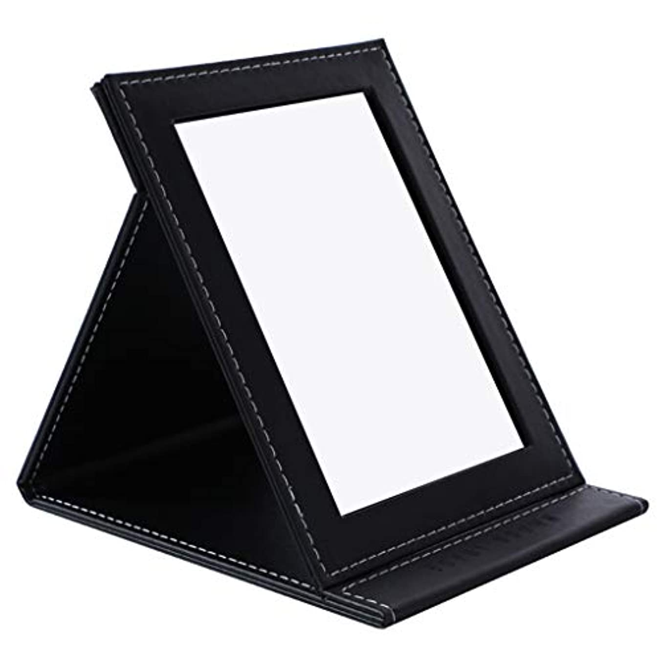 アサー粒不安デスクトップの虚栄心ミラーHD折りたたみミラー卓上化粧鏡ポータブル用女の子学生女性,黒