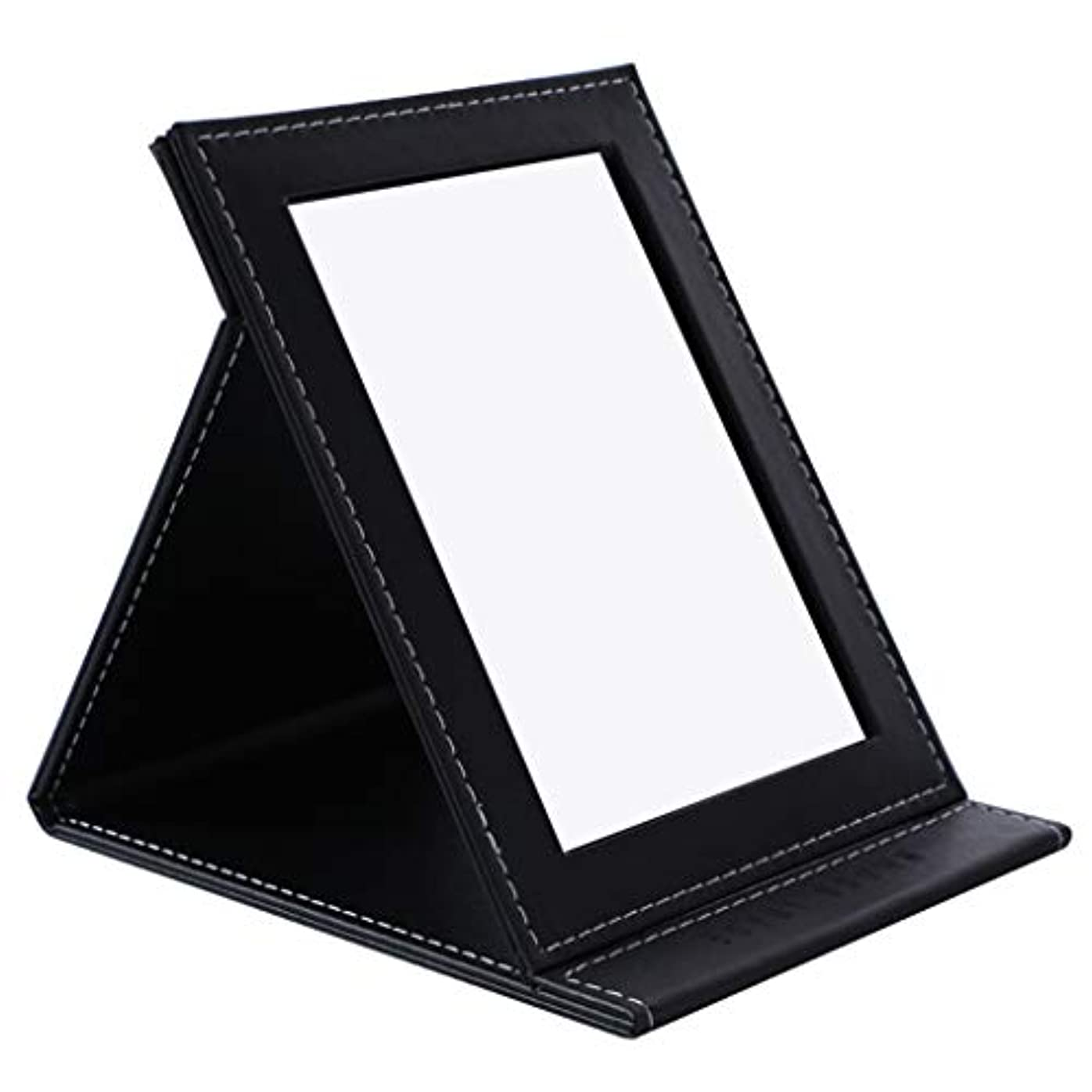 うなずく王女ルーデスクトップの虚栄心ミラーHD折りたたみミラー卓上化粧鏡ポータブル用女の子学生女性,黒