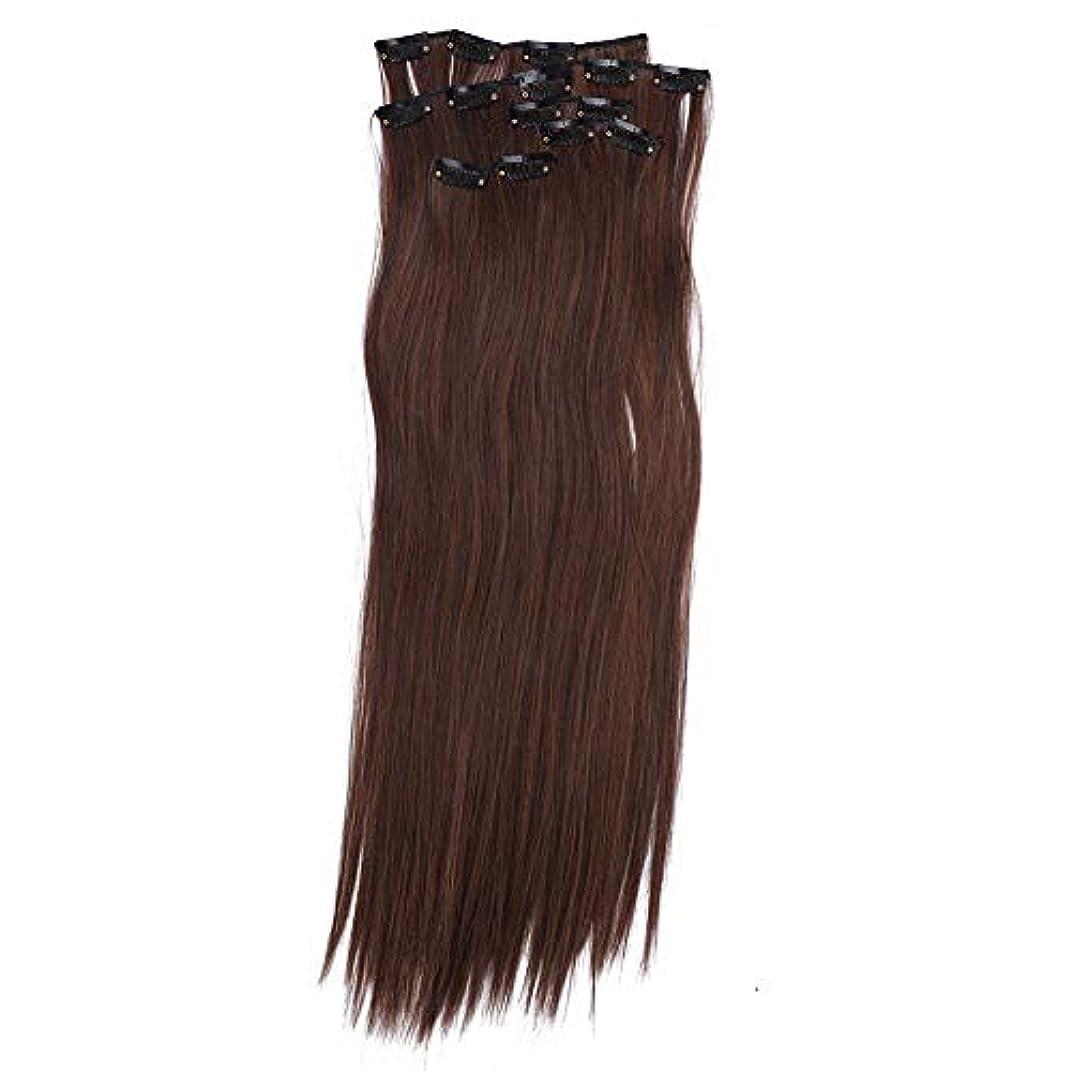 トイレスイング深めるヘアエクステンションクリップ、6本ストレートフルヘッドワンピース16クリップのヘアエクステンションロングポプラスタイル女性用(01#)