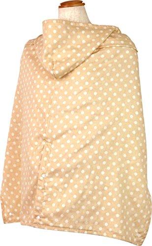 ポーチェ(pouche) 授乳ケープ 日本製 フード付き 抱っこひもカバー Wガーゼ 接触冷感 ドット (ミルクティー)
