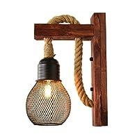 Xwyun ブラケットライト アメリカ 創造的な木製 レトロ ウォールライト 工業風麻ロープ装飾的な壁ランプ 北欧の雰囲気のリビングルーム レストラン 子供部屋 壁掛け照明/壁付け照明 E27(30×20CM) (C)