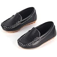 Casual Children Shoes Soft Leather Shoes for Girls Boys Kids Lightweight Slip On Flat Shoes Unisex Fashion Peas Shoes Black