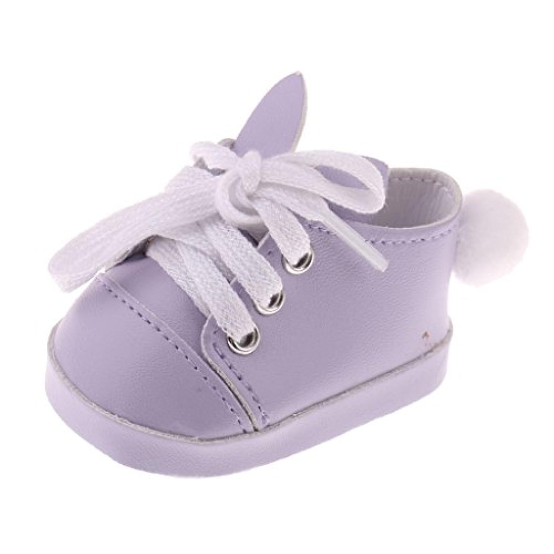 Blesiya かわいい ウサギの耳形 レースアップ スニーカー 18インチアメリカガールドール用 人形アクセサリー 靴 全3色 - 紫