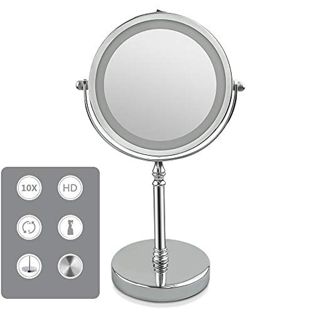 ホース間違っているカウント化粧鏡 LED化粧鏡 両面鏡 5/10倍拡大鏡付き+等倍鏡 360度回転 女優ミラー 柔らかい光360度回転単三電池給電 卓上ミラー スタンドミラー,5X