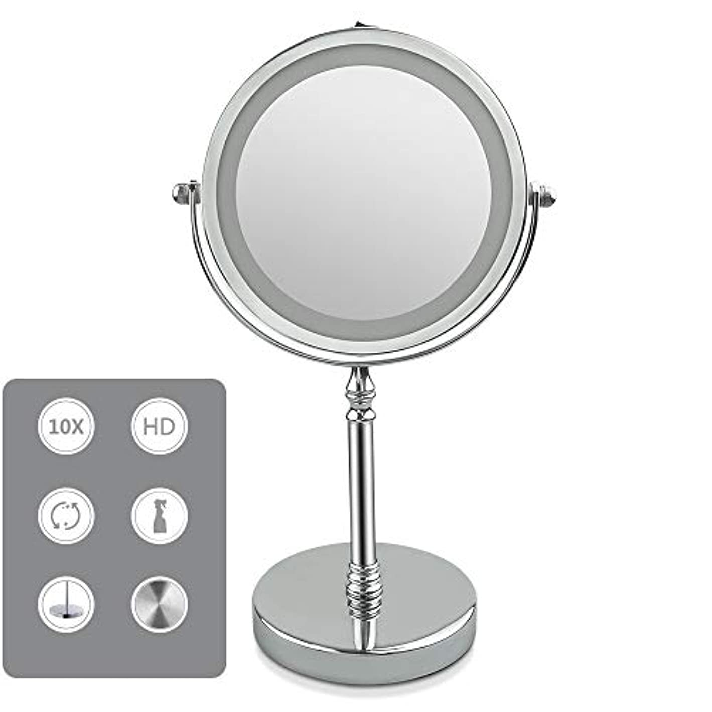 飢蒸顔料化粧鏡 LED化粧鏡 両面鏡 5/10倍拡大鏡付き+等倍鏡 360度回転 女優ミラー 柔らかい光360度回転単三電池給電 卓上ミラー スタンドミラー,5X