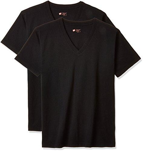 (ヘインズ) Hanes Tシャツ ジャパンフィット Vネック 2枚組 (最新モデル) H5115 090 ブラック S