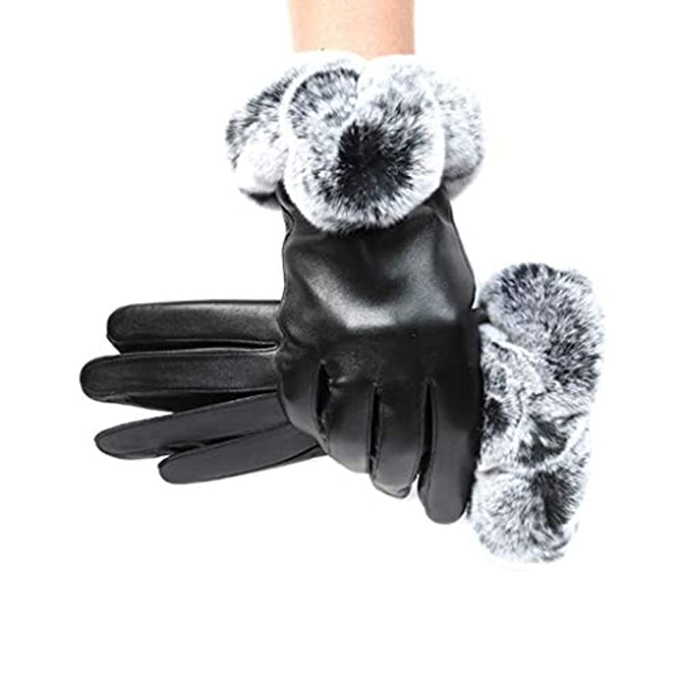 手順フリル唇レザーグローブ冬の暖かい手袋レディースアウトドアライディンググローブ防風コールドプラスベルベットのタッチスクリーングローブ女性モデル