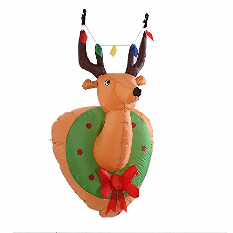 4 ft Airblown InflatableクリスマスクリスマスマウントDeer Head Gemmy Decor in /アウトドア