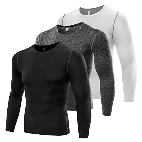 LeoSport 男性 三色機能性 腹筋 脂肪燃焼 スポーツ姿勢補助 吸汗速乾 長袖 Tシャツ (M, 三色)