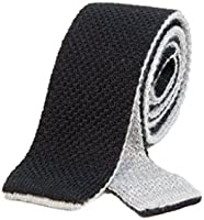 40 Colori 厚手 リバーシブル ウール ニット ネクタイ ブラック - パール