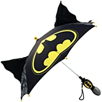 DC Comics Little Boys' Batman 'Squeeze and Flap' Fun Rainwear Umbrella, Black, Age 3-7