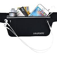 AKAMARU (アカマル) ウエストポーチ ランニング兼セキュリティ用ウェストポーチ 超薄型 厚さわずか1mm ランニング ポーチ ジョギング ウォーキング 海外旅行用シークレットポーチ ウエストバッグ iPhone Sony Fujitsu 京セラ 5.5インチまでのスマホ収納可能
