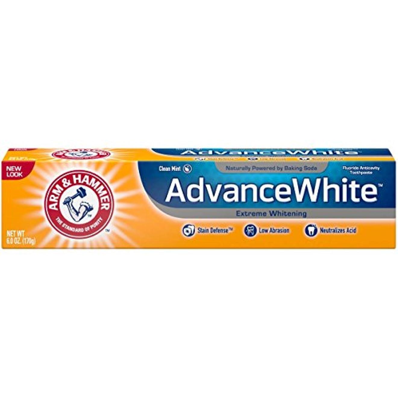 アソシエイト可塑性大脳Arm & Hammer アドバンスホワイトエクストリームホワイトニングで染色防衛の歯磨き粉、6オズ(3パック) 3パック