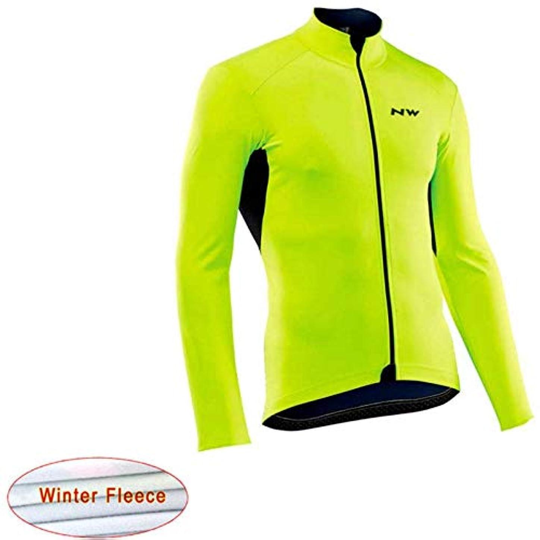 買収抜け目のない激しい冬のサーマルフリースサイクリングジャージー長袖自転車レーシングバイクサイクリング服のトップス CQQO (Color : 9, Size : L)