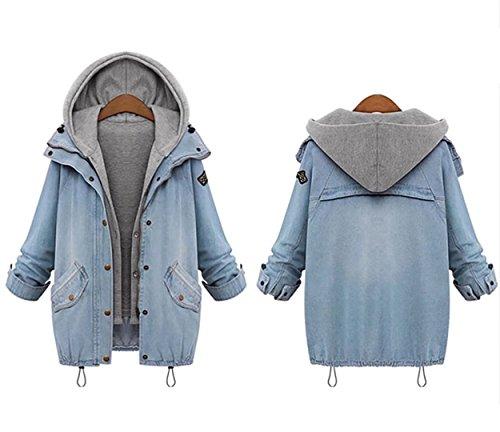 Fashion Women's Two Piece Vest Denim Hooded Jacket Coat(M)