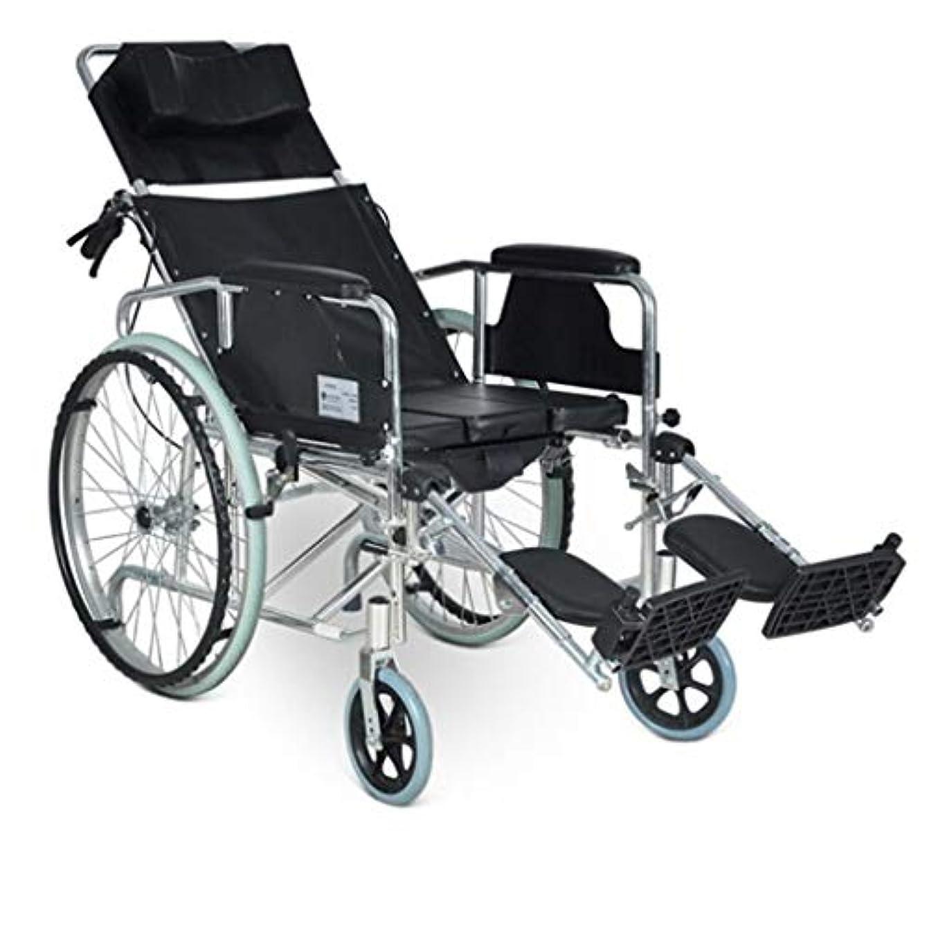 解決パッド静かな車椅子トロリー4ブレーキデザイン、フルリクライニング折りたたみ車椅子、高齢者用多目的ワゴン