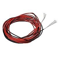 BNTECHGO 30ゲージシリコンワイヤ11色20フィート超柔軟な高Temp 200度C 600V 30AWGシリコンゴムワイヤの11のストランド錫メッキ銅ワイヤStranded Wire forモデル低インピーダンス 10ft black and 10ft red SW30A11008F10C2