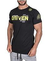 MANATSULIFE メンズ トレーニングウェア Tシャツ ストレッチ 半袖 スポーツシャツ 筋トレ フィットネス DT-06 (ブラック, L)