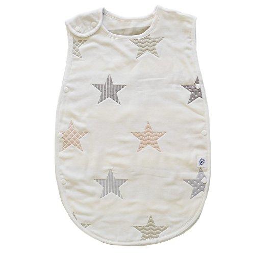 (アーネス)Arnes 主婦が選んだ 6重 ガーゼ スリーパー オーガニック コットン 星(60-80cm 新生児から3歳)