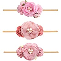 cherrboll 3pcs Baby Girl Headbands Flowers, Super Soft & Stretchy Nylon Floral Hairbands for Newborn Toddler