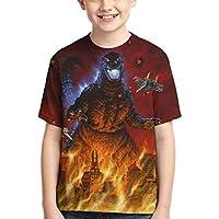 モンスター3Dプリント半袖TシャツファッションユースTシャツの少年少女ゴジラ2キング,Godzi35,M