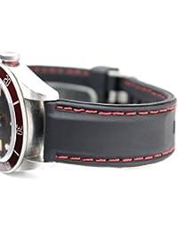 (ドノロロジオ)DonOrologio 腕時計 交換用 シリコン ベルト 22mm 直カン ラバー バンド 穴留め ピン 式 バックル ステッチ 防水 スキューバ スポーツに (赤 ステッチ)