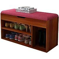 木製防塵靴ベンチ、エントランス家庭用ハイヒールブーツシューボックスコットンとリネンクッション収納ボックス (色 : E, サイズ さいず : 80 * 30 * 45CM)