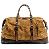 GY Large-Capacity Travel Bags for Men and Women, Portable Knight Travel Bag, Waterproof Cowhide Oil Wax Canvas Messenger Bag (Color : Brown)
