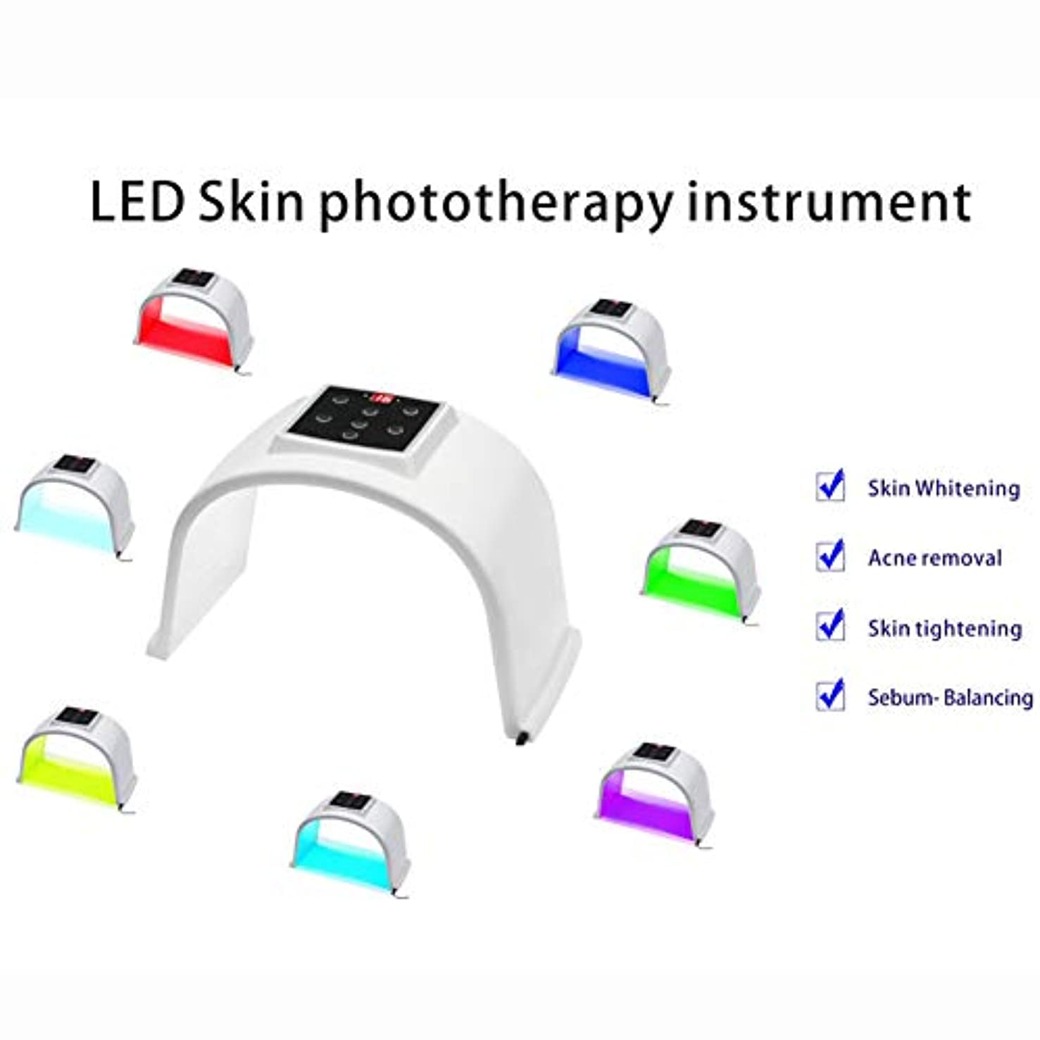 納屋セール必要とする7色LED肌の光線療法の器械、7色LEDの顔のマスク、人及び女性の老化防止/皮の若返り/にきびの減少PDT光線療法のDermatometer