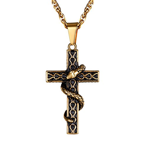 [해외]PROSTEEL 스테인리스 크로스 목걸이 남자 펜던트 뱀 골동품 액세서리 (실버)/PROSTEEL Stainless Steel Cross Necklace Men`s Pendant Top Snake Antique Accessory (Silver)