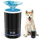 Akcra 足洗いカップ 犬 クリーナー 自動式 電池内蔵 充電式 シリコーンブラシ 洗浄力抜群 柔軟 マッサージ効果 節水 持ち運び便利 安心安全 小型 中型犬に適用 12ヶ月保証