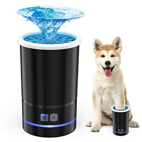 Akcra 犬 足洗いカップ クリーナー 自動式 電池内蔵 充電式 シリコーンブラシ 洗浄力抜群 柔軟 マッサージ効果 節水 持ち運び便利 安心安全 小型 中型犬に適用 12ヶ月保証