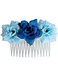 Perfeclan 人工花の髪の櫛の女の子の女性のヘッドピース結婚式のルアウパーティー - 青