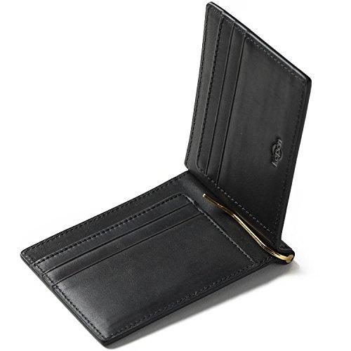 Kapon マネークリップ メンズ 本革 オイルレザー クリップ2本(ゴールド・シルバー)付属 ギフトボックス ...