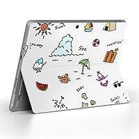 Surface go 専用スキンシール サーフェス go ノートブック ノートパソコン カバー ケース フィルム ステッカー アクセサリー 保護 海 夏 カラフル 013808