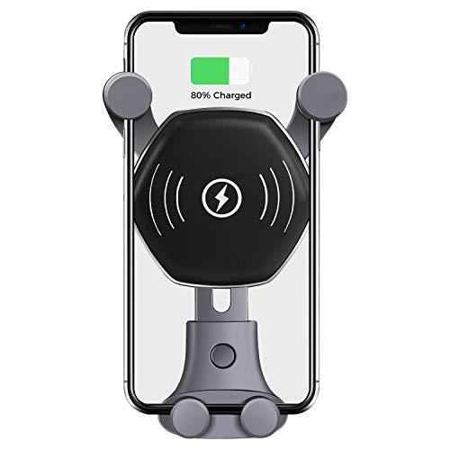 【Amazon.co.jp 限定】車載Qi ワイヤレス充電器 車載 スマホホルダー 車用無線急速充電器 吹き出し口用 360度回転 重力原理で片手操作可能 急速車載ワイヤレスチャージャー iPhone8 / iPhone8Plus / iPhone X/Galaxy S7/S8/Note8など多機種対応 ab-X3