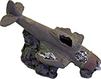 BLUE RIBBON PET PRODUCTS 030157015848 Exotic Environments Sunken WWII plane with Cave Brown by Blue Ribbon