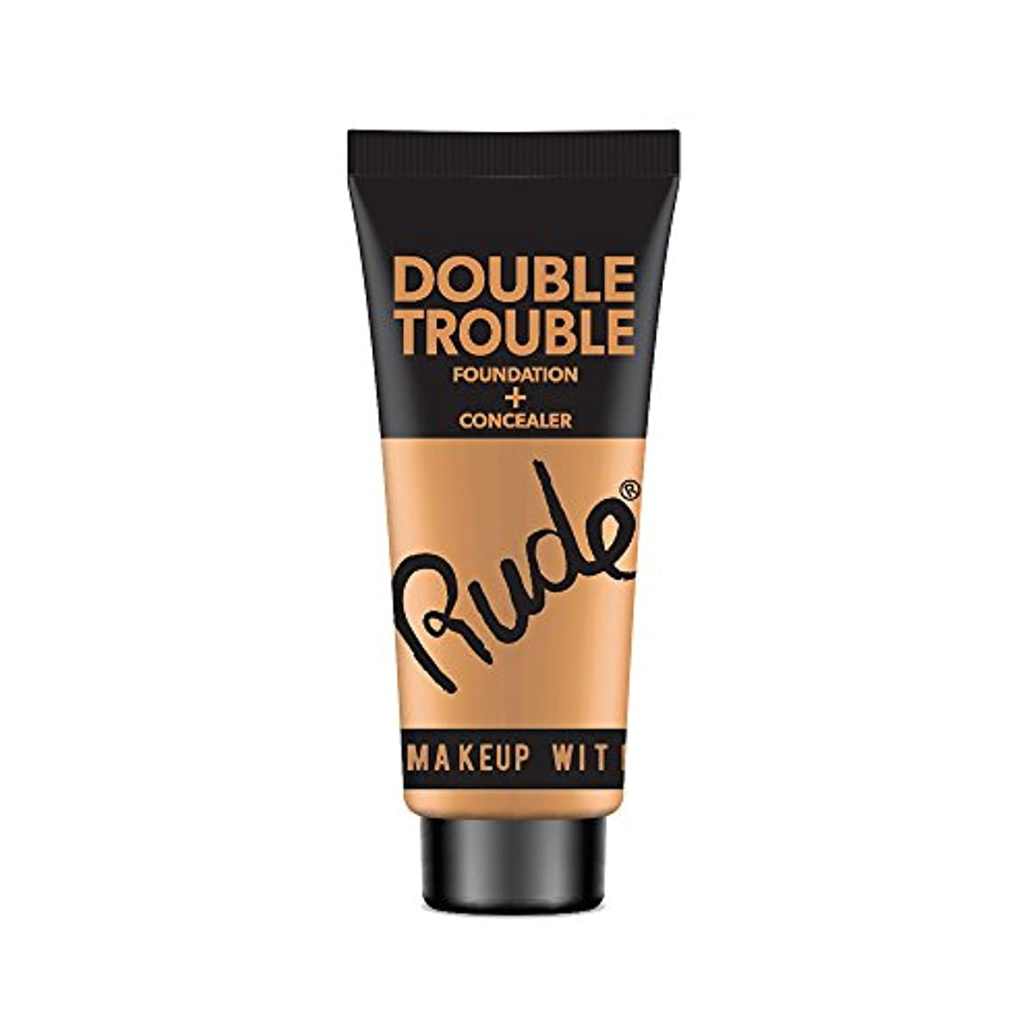 (6 Pack) RUDE Double Trouble Foundation + Concealer - Tan (並行輸入品)