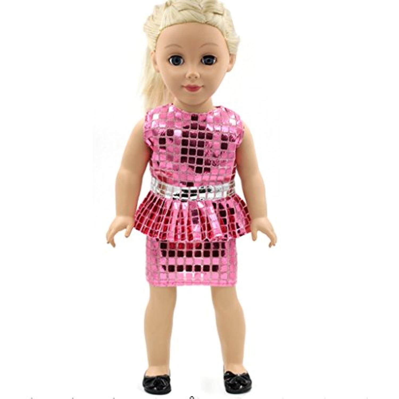 ノーブランド品 アメリカンガール 18インチ人形の服 ワンピース 綺麗 ドレス アクセサリー 贈り物 全4パタン選べ - ピンク