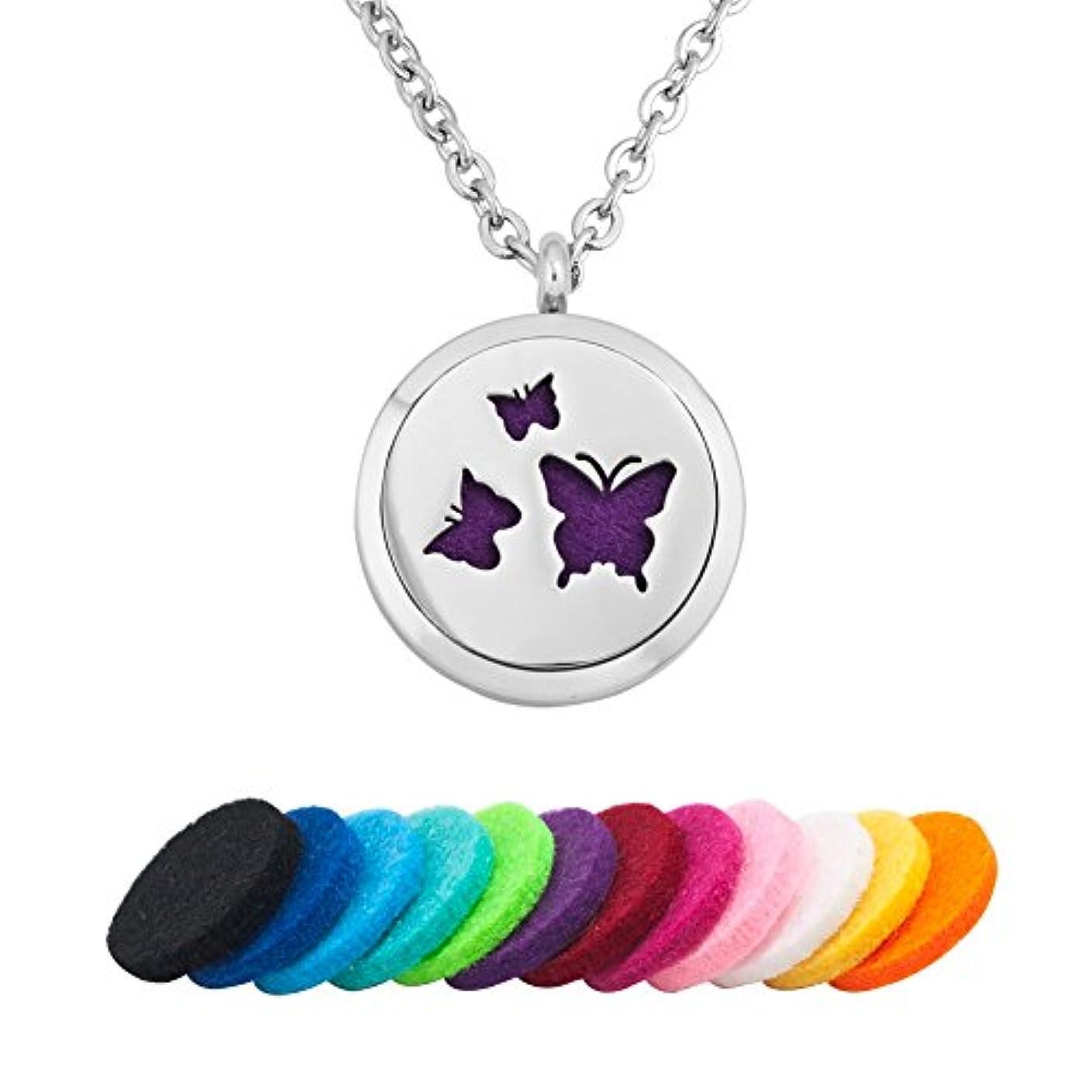 メンダシティ伝導差別demijewelry Aromatherapy Essential Oil Diffuserネックレスロケットペンダント、12 Refill Pads