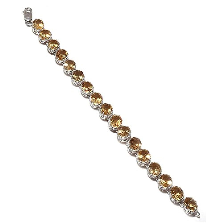 brightjewels Striking golden-yellowシトリンReal宝石スターリングシルバーブレスレット