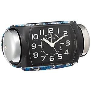 リズム時計 目覚し時計 大音量 アナログ タフバトラー636 連続秒針 クォーツ ベル音 青 迷彩 RHYTHM 8RA636SR04