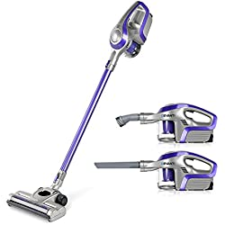 Devanti Stick Vac Vacuum 2 in 1 Cordless Handheld Vacuum Cleaner Bagless Upright Sweeper Pet Hair Electric Broom Lightweight Battery Rechargeable Family and Car Cleaning 150W Purple and Grey