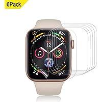 VICARA Compatible apple watch series 4 保護フィルム 非ガラス 水貼り 貼り直し可 超薄 TPU保護フィルム 気泡ゼロ Compatible apple watch series 4 スクリーン保護フィルム(6枚入り 44mm)