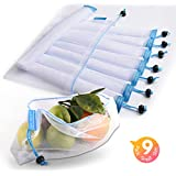 Reusable Produce Bags, Lavinrose Reusable Mesh Produce Bags with Drawstring & Tare Weight Tags, Durable Overlock-Stitched Strength, See-Through & Washable Storage Bags, Set of 9 Small