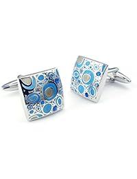 [テメゴ ジュエリー]TEMEGO Jewelry メンズ カフス2個ロジウムメッキバブルの結婚式のカフスシャツカフス、ブルーシルバー[インポート]