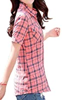 VITryst 女性プラスサイズチェック柄半袖クラシックブラウスシャツ 3 S