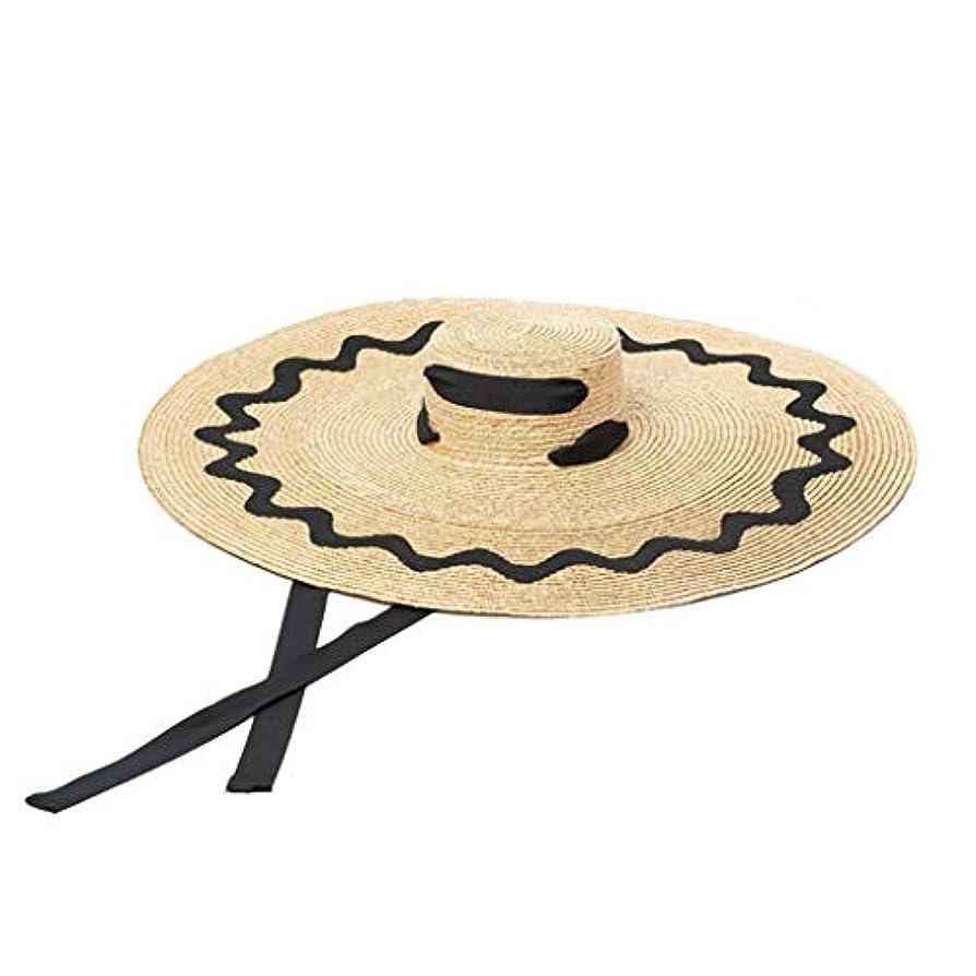一貫性のない振り返るウナギ女性の夏のビーチの太陽の帽子、女性の麦わら帽子のビーチ帽子、折り畳み式の広いつばの帽子、折り畳み式の調節可能な弓バイザー