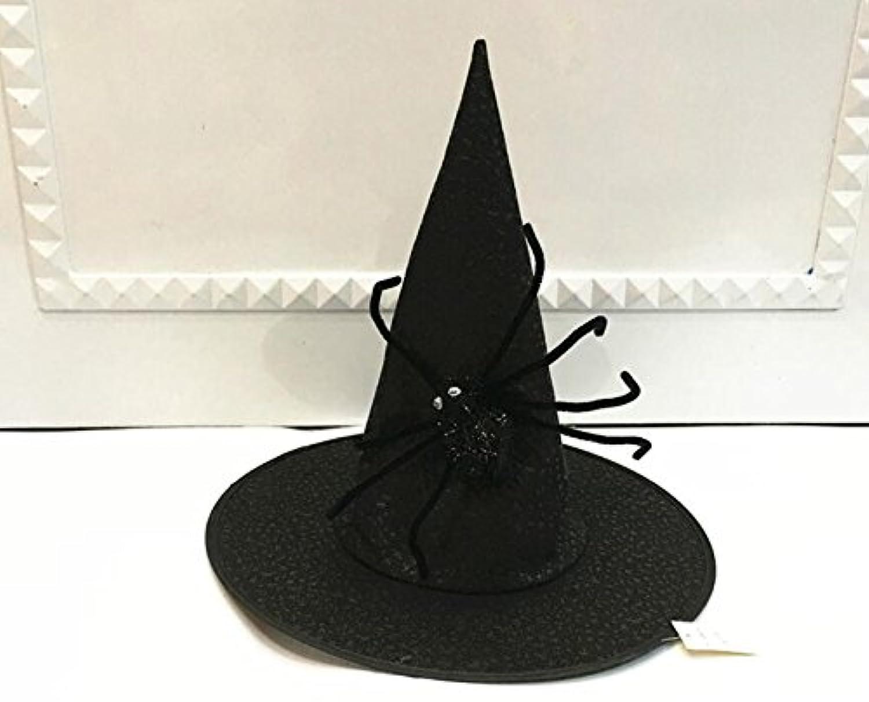 HuaQingPiJu-JP Halloween_Blackを祝うための大きなスパイダーのハイトップウィザードハット
